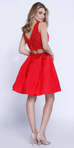 V-Shape Back Applique Crop Top Two-Piece Homecoming Short Dress Red