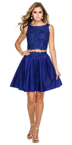 Two-Piece Long Prom Dress Lace Crop Top and Satin Skirt Navy Blue
