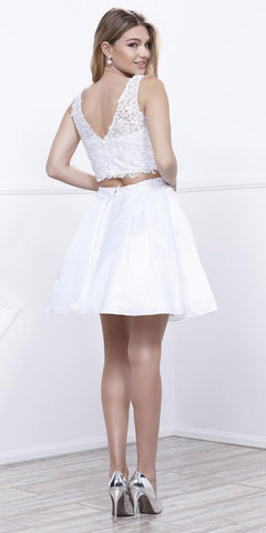 V-Shape Back Applique Crop Top Two-Piece Homecoming Short Dress White