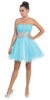 Starbox USA 6057 Poofy Short Homecoming Dress Turquoise Strapless A Line Sequins