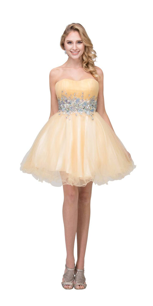 Starbox USA 6057 Poofy Short Homecoming Dress Champagne Strapless A Line Sequins Back View
