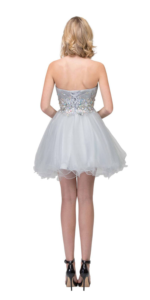 Starbox USA 6057 Poofy Short Homecoming Dress Silver Strapless A Line Sequins Back View