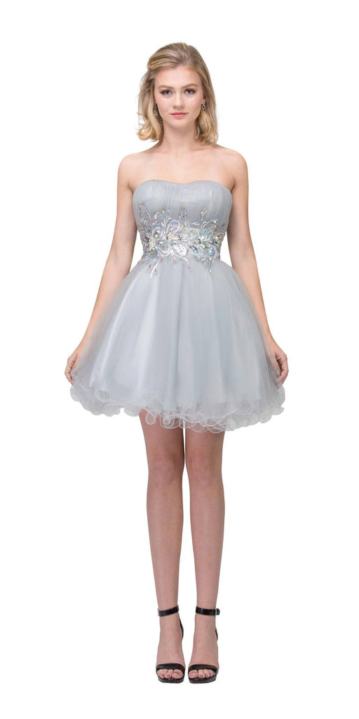 Starbox USA 6057 Poofy Short Homecoming Dress Silver Strapless A Line Sequins
