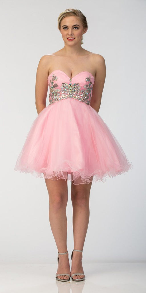 Short Puffy Pink Ball Gown Strapless Tulle A Line Skirt