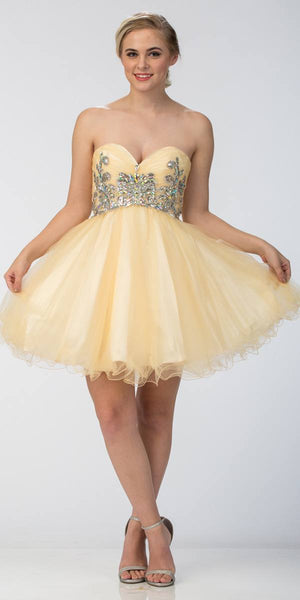 Short Puffy Champagne Ball Gown Strapless Tulle A Line Skirt