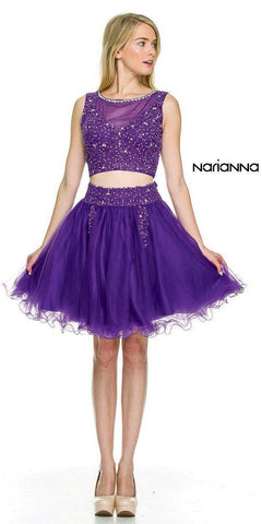 Purple Lace Applique Bodice Two-Piece Homecoming Short Dress