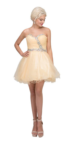 Starbox USA 6059 Poofy Short Homecoming Dress Champagne Tulle Strapless Rhinestones