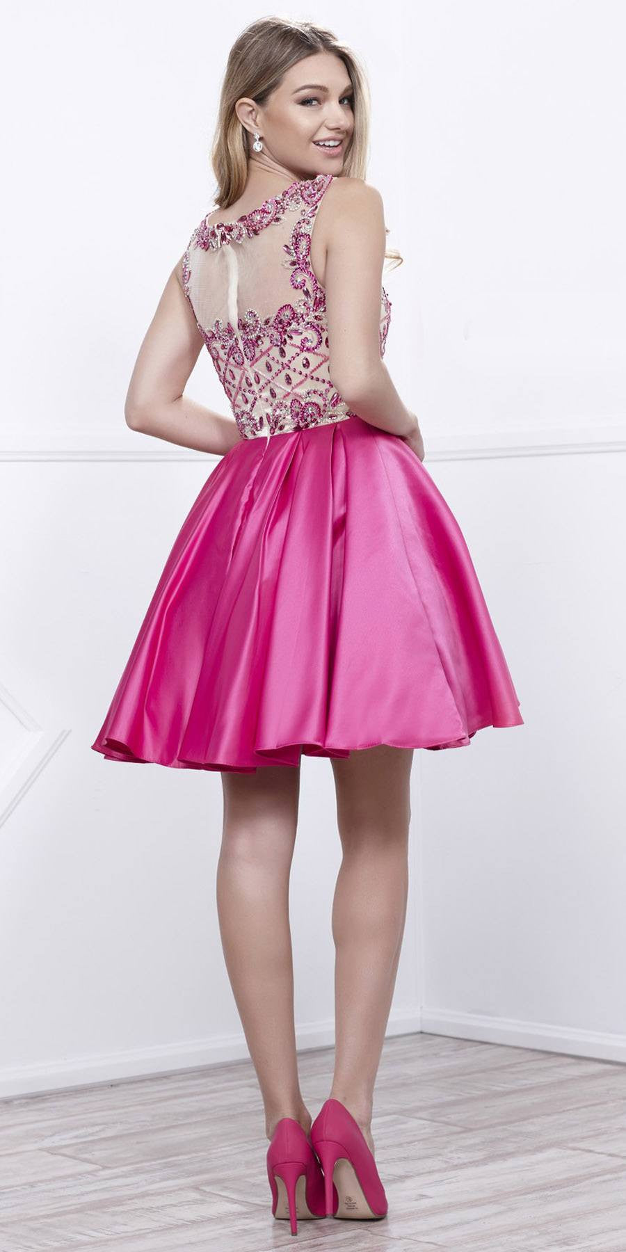 Fuchsia-Nude Beaded Top Illusion Bateau Neckline Short Prom Dress ...