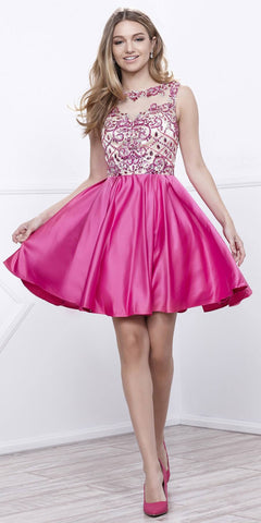Fuchsia-Nude Beaded Top Illusion Bateau Neckline Short Prom Dress