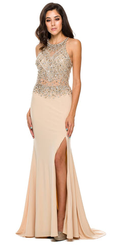Sexy Long Sheath Prom Dress Gold Slit Rhinestone/Bead Top