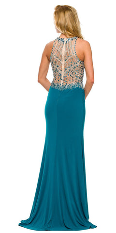Sexy Long Sheath Prom Dress Teal Slit Rhinestone/Bead Top Back