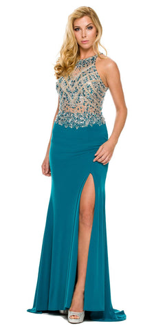 Sexy Long Sheath Prom Dress Teal Slit Rhinestone/Bead Top