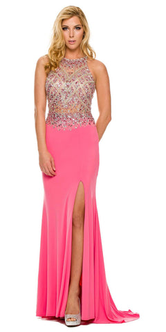 Sexy Long Sheath Prom Dress Watermelon Slit Rhinestone/Bead Top