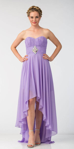 Starbox USA 606-1 Lilac Bridesmaid High Low Dress A Line Chiffon Sweetheart