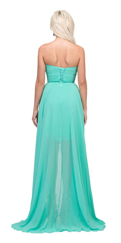 Mint Bridesmaid High Low Dress A Line Chiffon Sweetheart