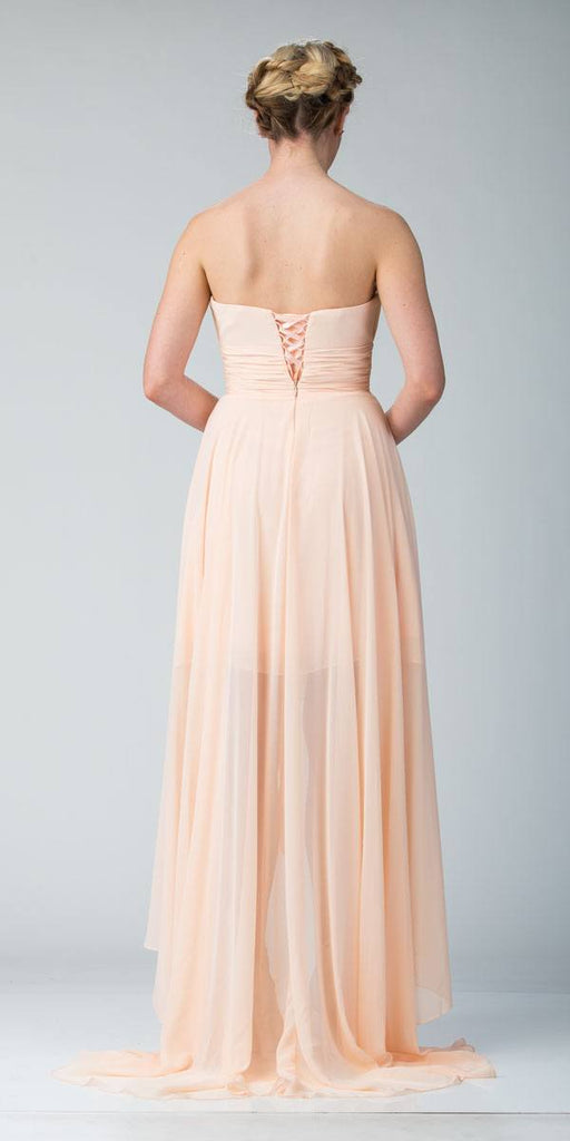Starbox USA 606-1 Peach Bridesmaid High Low Dress A Line Chiffon Sweetheart Back View