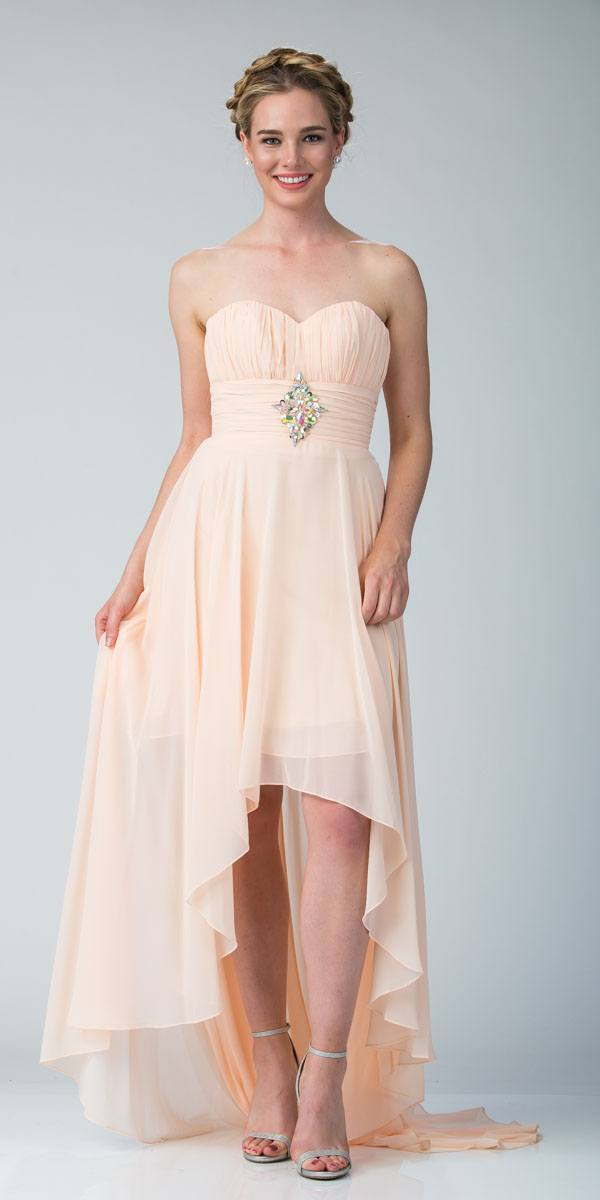 6af1dd2917ca Peach Bridesmaid High Low Dress A Line Chiffon Sweetheart