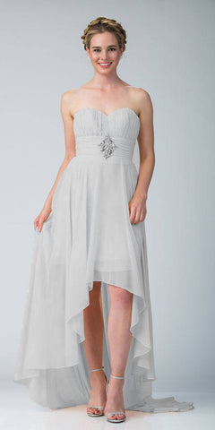 CLEARANCE - Silver Bridesmaid High Low Dress A Line Chiffon Sweetheart (Size Large)