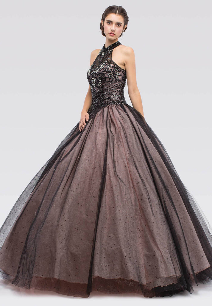 Black/Blush Embellished Bodice Close Neckline Halter Quinceanera Dress