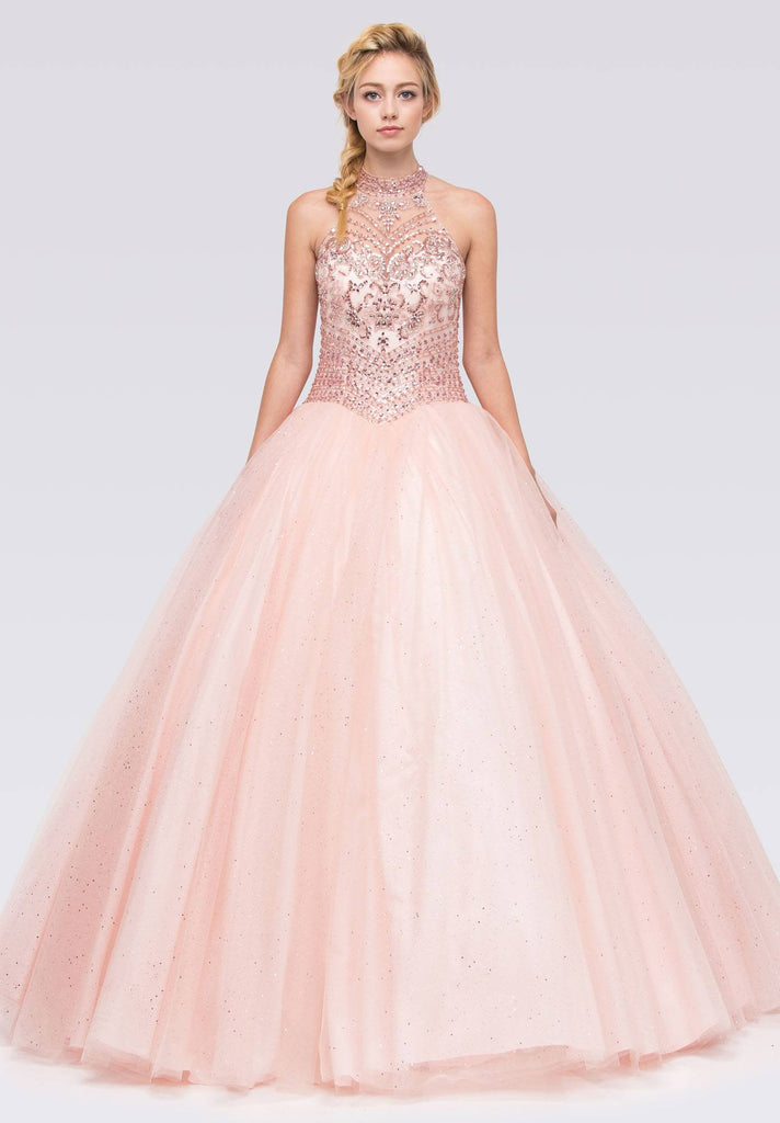 Blush Embellished Bodice Close Neckline Halter Quinceanera Dress