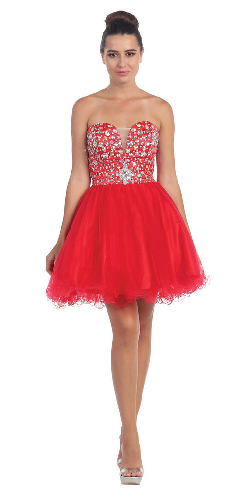 Tulle Poofy Skirt A Line Red Homecoming Dress Strapless