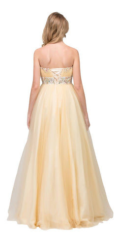 Champagne Strapless Ball Gown Ruched Bodice Embellished Waist