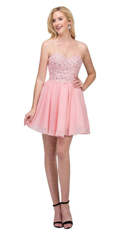 Starbox USA 60631-1 Chiffon A Line Short Homecoming Dress Blush Strapless