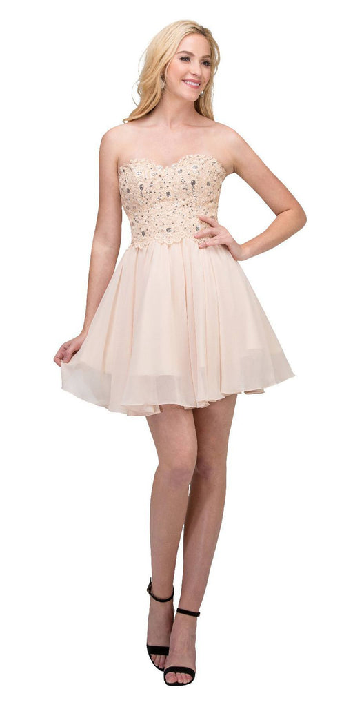 Starbox USA 60631-1 Chiffon A Line Short Homecoming Dress Champagne Strapless