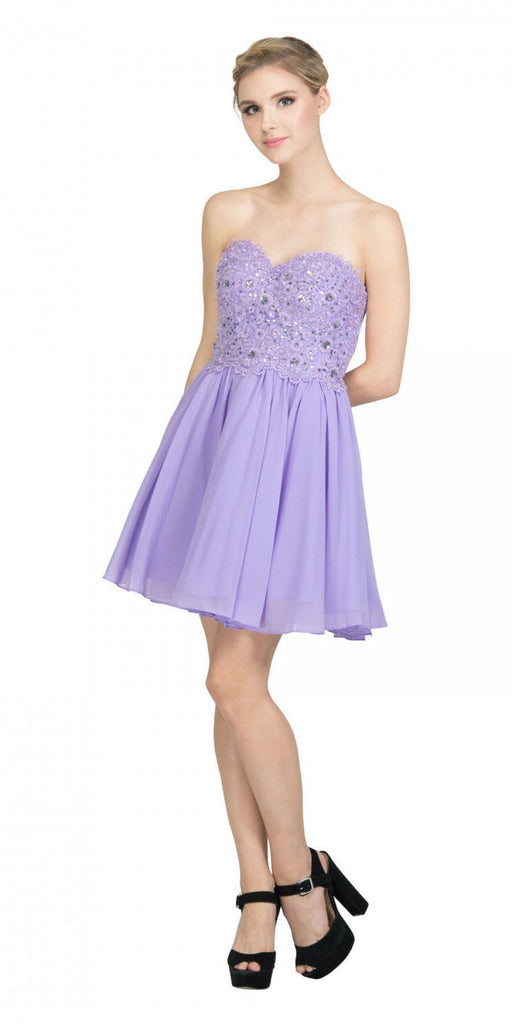 Starbox USA 60631-1 Chiffon A Line Short Homecoming Dress Lilac Strapless