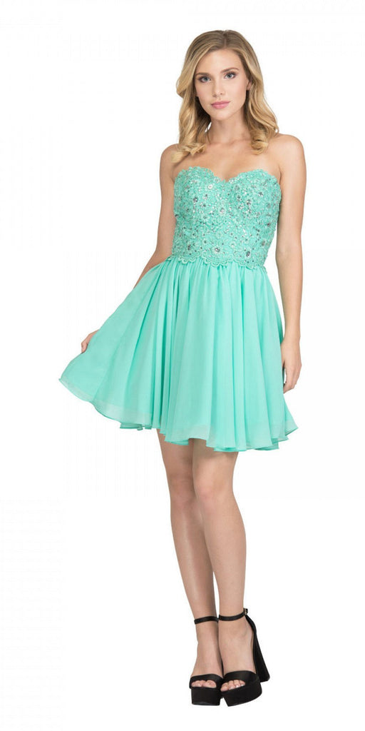 Starbox USA 60631-1 Chiffon A Line Short Homecoming Dress Mint Strapless