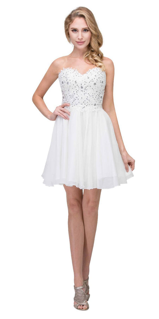 Starbox USA 60631-1 Chiffon A Line Short Homecoming Dress Off White Strapless