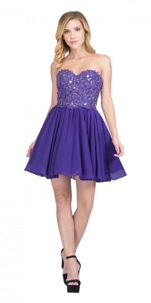 Starbox USA 60631-1 Chiffon A Line Short Homecoming Dress Purple Strapless
