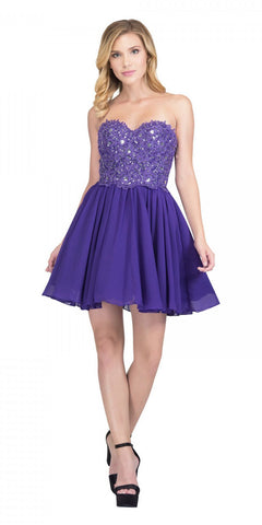 Purple Long Formal Dress Plunging V-Neck Pleated Bodice
