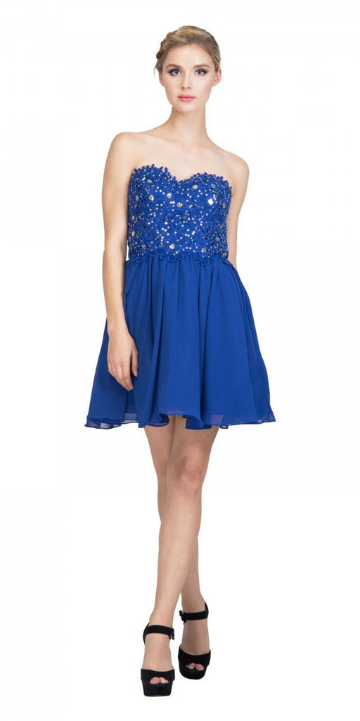 Starbox USA 60631-1 Chiffon A Line Short Homecoming Dress Royal Blue Strapless
