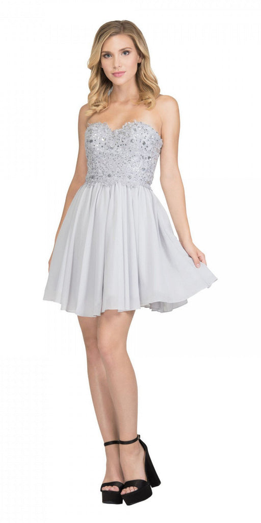 Starbox USA 60631-1 Chiffon A Line Short Homecoming Dress Silver Strapless