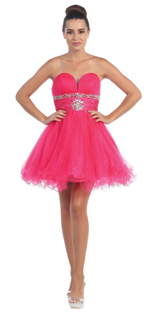 Tulle A Line Skirt Fuchsia Homecoming Dress Strapless Poofy