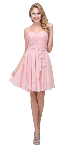Starbox USA 6064 Ruched Bodice Short Strapless Bridesmaids Dress Blush