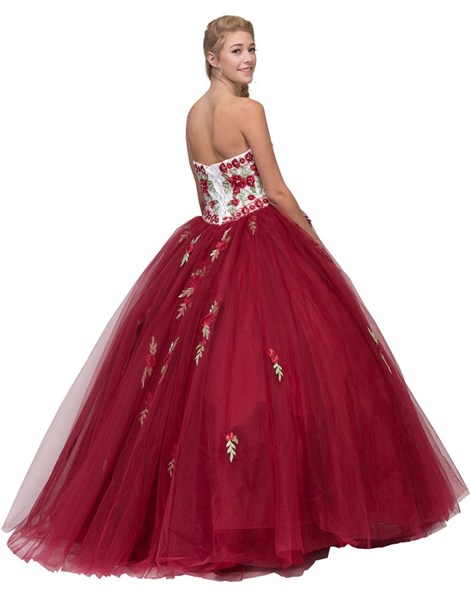 1abbfac2ef3 Eureka Fashion 6066 Burgundy Off-White Strapless Quinceanera Dress ...