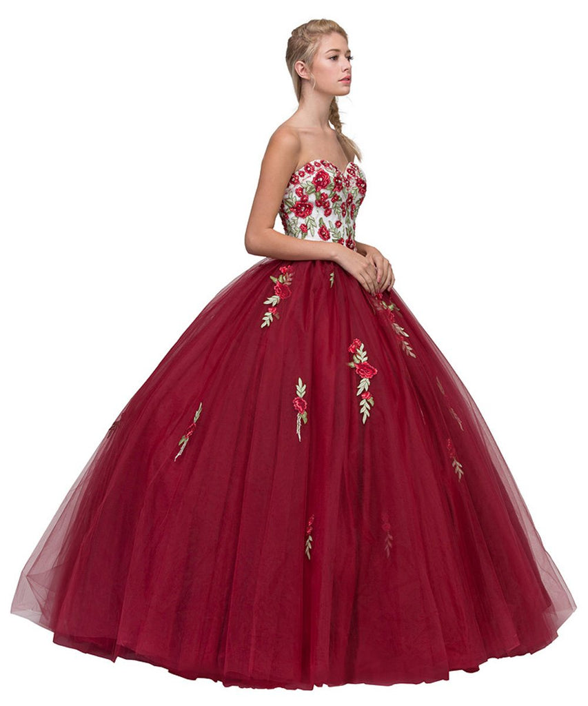 Burgundy/Off-White Strapless Quinceanera Dress Embroidered