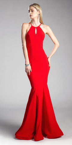 Red Halter Mermaid Prom Gown Strappy Back with Keyhole Neckline