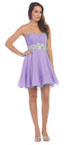 Starbox USA 6068 Short Chiffon Semi Formal Dress Lilac Rhinestone Waist