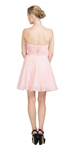 Starbox USA 6068 Short Chiffon Semi Formal Dress Blush Rhinestone Waist