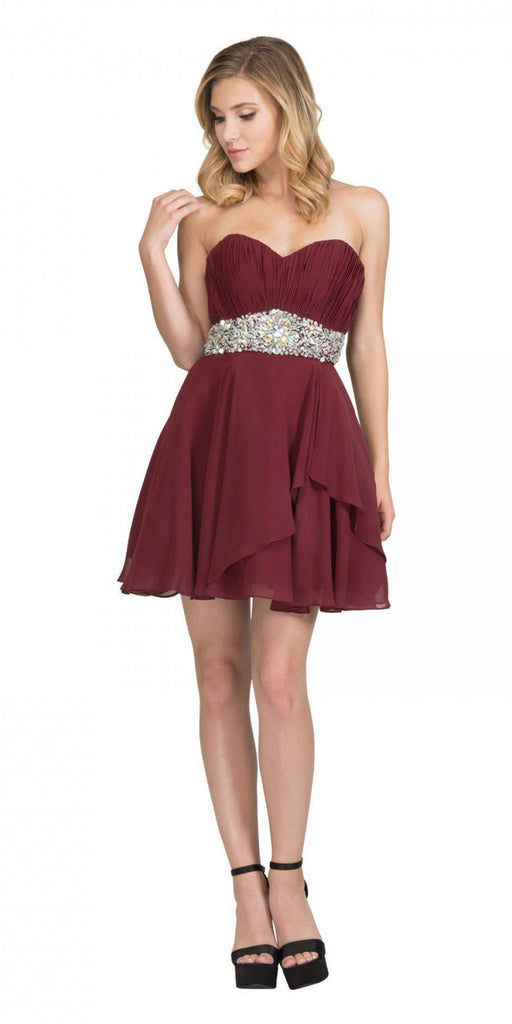 Starbox USA 6068 Short Chiffon Semi Formal Dress Burgundy Rhinestone Waist