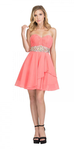 Starbox USA 6068 Short Chiffon Semi Formal Dress Coral Rhinestone Waist