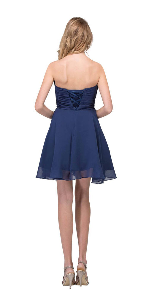 Starbox USA 6068 Short Chiffon Semi Formal Dress Navy Blue Rhinestone Waist Back View