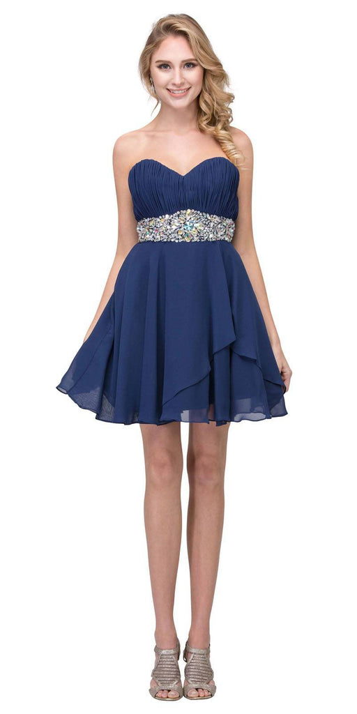 Starbox USA 6068 Short Chiffon Semi Formal Dress Navy Blue Rhinestone Waist