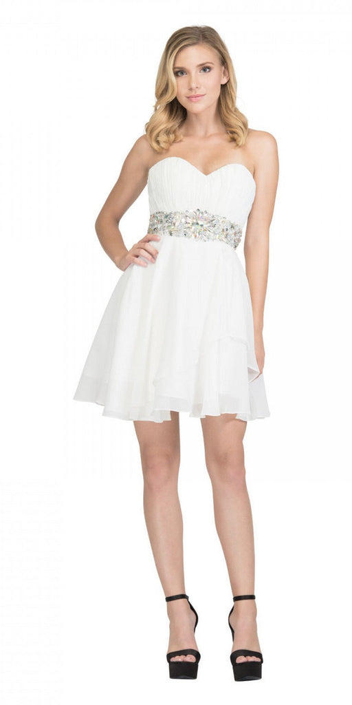 Starbox USA 6068 Short Chiffon Semi Formal Dress Off White Rhinestone Waist