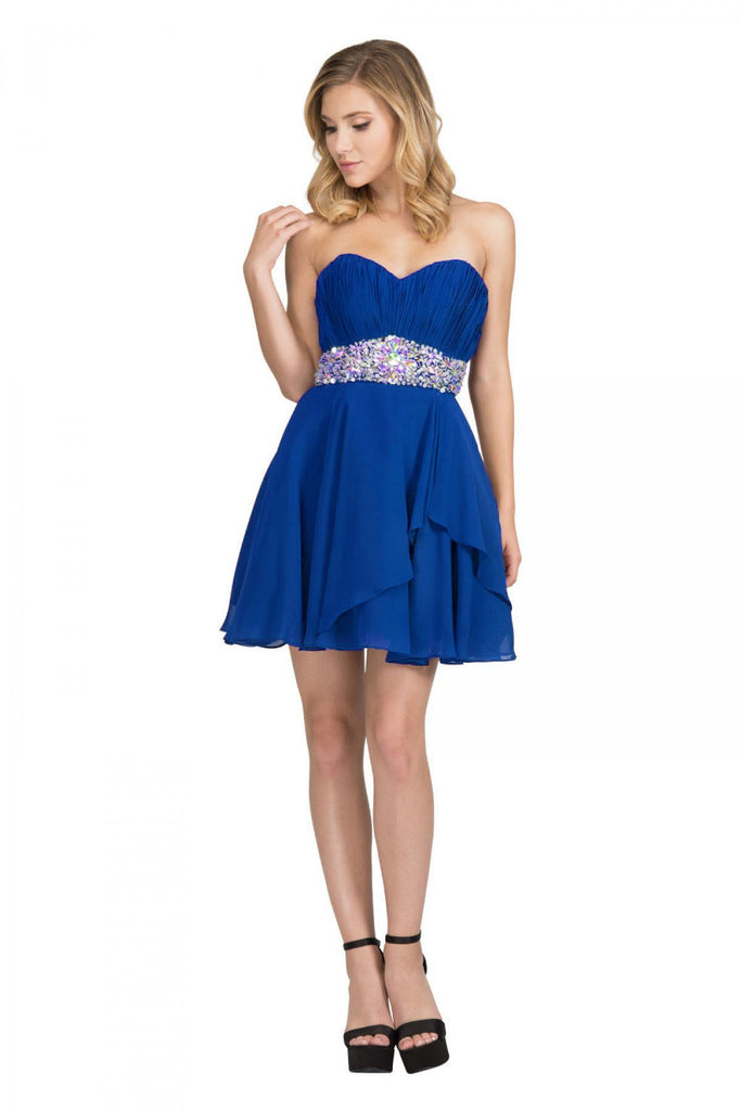 Starbox USA 6068 Short Chiffon Semi Formal Dress Royal Blue Rhinestone Waist