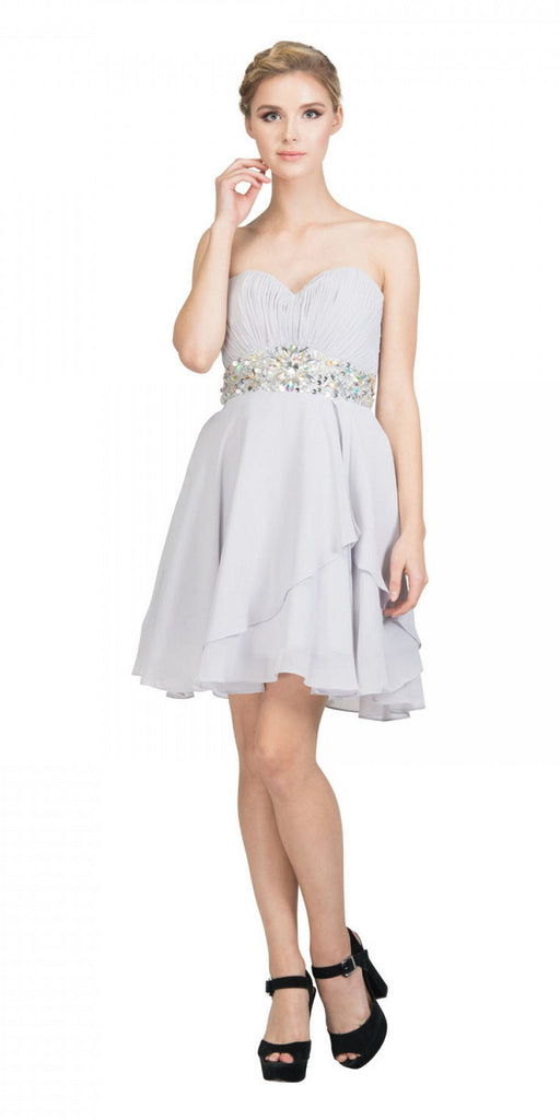 Starbox USA 6068 Short Chiffon Semi Formal Dress Silver Rhinestone Waist