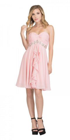 Starbox USA 6069 Chiffon Homecoming Dress Blush Short Strapless Ruffled Layers